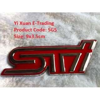 STi Red Grille Metal Emblem 9x3.5cm