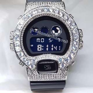 G Shock Dw6900 customise Matt black with no diamond+chrome black buttin