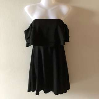 Black Puffy Off Shoulder Dress