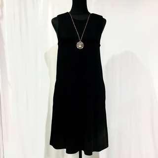 Black Shoulder Padded Dress