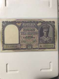1943 British indian Vl George king 10 Rupees with nice no 02 02 42