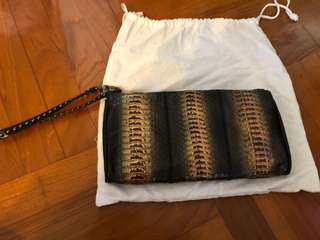 Diane von Furstenberg DVF Embossed Python Pouch Clutch 水蛇壓紋 手拿包 (100% Authentic 真)