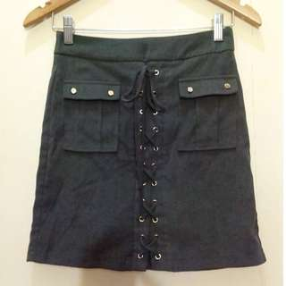 Missguided Olive Green Lace Up Suede Skirt