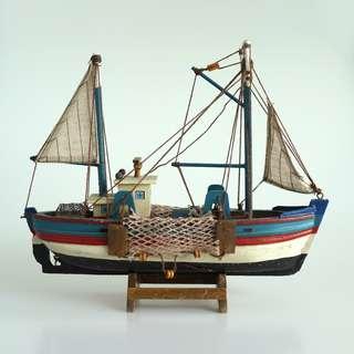 Handmade Santorini Wooden Fishing Boat