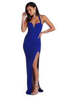 PROM DRESS : Royal Blue Halter Gown