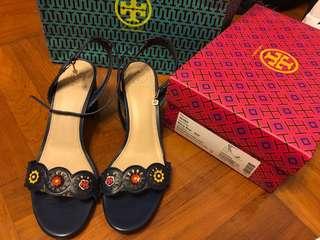 Tory Burch Marguerite Sandal Navy 深藍色 高踭鞋 (100% Authentic 真)