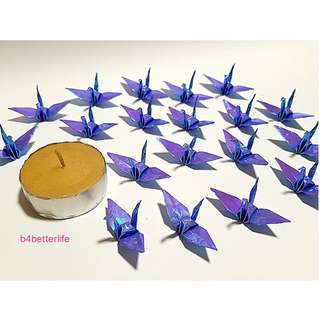 """#FC15-87. Lot of 100pcs Dark Blue Color 1.5"""" Origami Cranes Hand-folded From 1.5""""x1.5"""" Square Paper. (AV paper series)."""