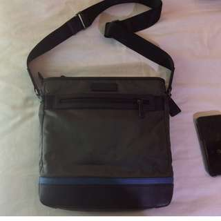 Like New Preowned Coach Varick Mens Nylon and Leather Tech Crossbody Sling Bag