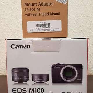 Canon Mirrorless EOS M100 Camera (Black)
