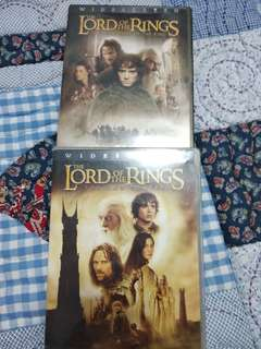 Lord of rings part 1 and 2 dvds