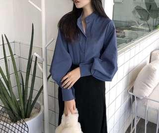藏藍色寬袖裇衫 好特別又舒服又好襯