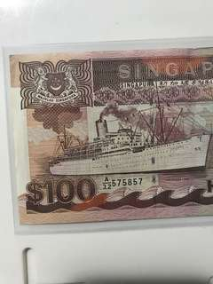 Nice  no 57 58 57 Old Singapore ship Series 100 Dollar Note