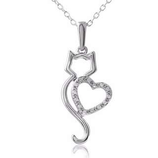 Lovely Cat with Crystal Heart Necklace