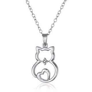 Lovely Cat Shaped Pendant with Crystal Necklace