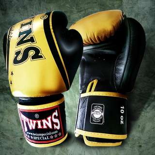 Twins Special Muay Thai Gloves 'Twins Stripe' Black/Gold – 12 oz