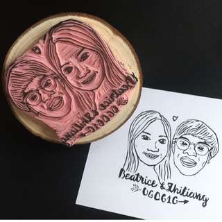Custom Couples Stamp - Portrait Rubber stamp, custom face stamp, engagement gift, wedding gift, wedding stationery