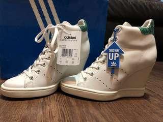 Adidas Originals Stan Smith wedges white green leather sz 5.5
