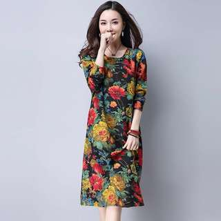 Free Shipping Promotion-15-25 Days Shipping Time for Plus Size Women Fashion Ethnic Style Loose Cotton Linen Dress