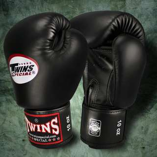 Twins Special Muay Thai Gloves - Black - 12 oz