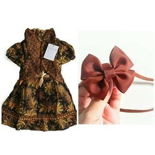 dress batik bayi free headband coklat