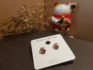 925 Silver Earrings [ Rose ]