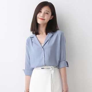 V-Neck collar blouse blue chiffon shirt good quality stylish latest trend #ramadan50