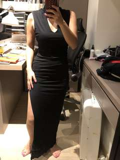 Long sexy black dress