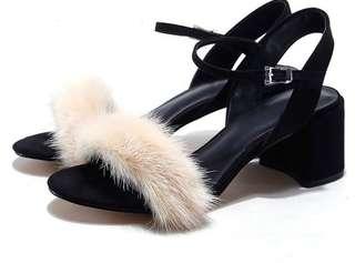 ZARA Fluffy Black Heels