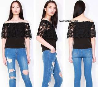 BNIB Tesi Off Shoulder Scallop Lace Edge Blouse in Black