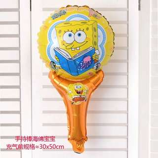 B13 - 2 birthday party foil balloon sponge bob spongebob handheld