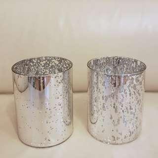 2 New Mercury Glass Candle Holders