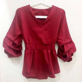 Dark Red Puff Sleeve Peplum Top with Bow Details (Brand New)