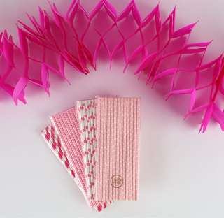 100 pcs Pink themed Paper Straws with matching garland