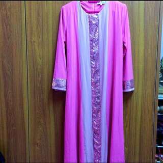 Pink Jubah with Sequins