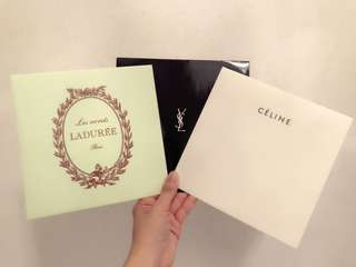 Celine, YSL, Laduree paper bag