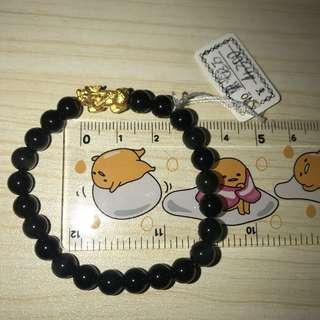 real gold 999 貔貅+ 黑曜石