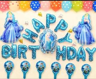 冰雪奇緣 Happy Birthday 氣球套裝