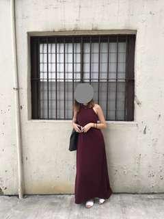 TEM Maroon/Wine Halter Maxi Dress