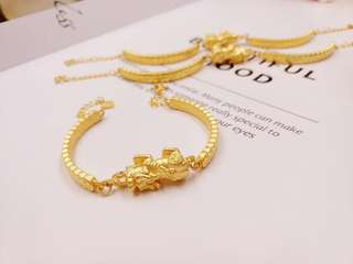 real gold 999 貔貅金錢  手鐲
