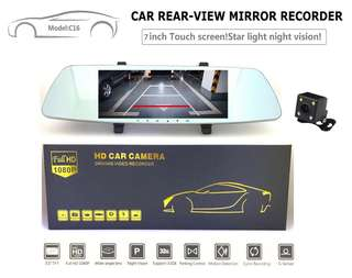 "2018 Latest 7"" Touch Screen Full-HD 1080P Dual-Lens Car Rear Mirror Recorder (Starlight Night Vision/Motion Detection/G-Sensor/Loop Recording/170 Wide-Angle Lens/Front & Back Camera)"