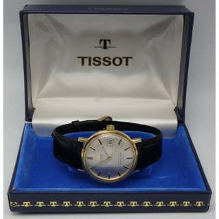 "TISSOT-visodate ---Seastar Seven for ""TURLER"" 18K solid gold auto+Date w/ BOX"