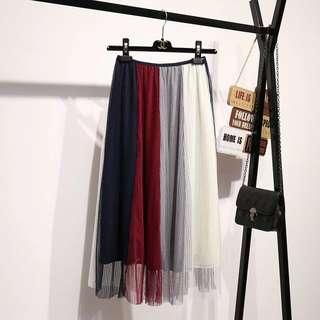 🚚 三色拼接紗裙