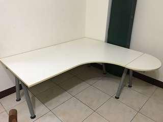 大桌面 L型桌 書桌 辦公桌 白色 弧形 電腦桌 可調高低