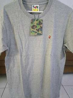 A Bathing Ape Embroidered Ape Head One Point Tshirt Grey