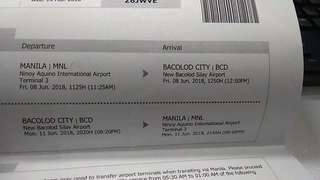 Manila Bacolod Cebu Pacific Plane Ticket