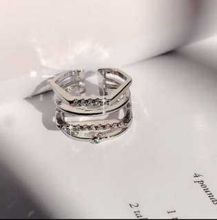 Korean 4-layered Style Ring w/crystal