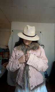A Shade of Pink Cold Wear Jacket with Fur