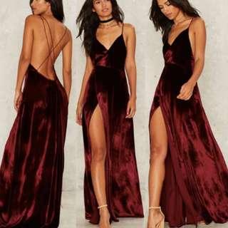 (PO) Red Velvet Evening Dress
