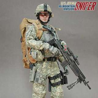 """1/6 Scale Hot toys U.S. Army 10th Mountain Division Sniper - 12'' Action Figure - ( 12"""" Collectible Action Figure ) Excellent Condition_NIB_Sideshow Collectibles_Soldier Story_Damtoys"""