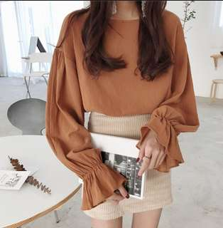 Korean Style Puffy Sleeves Blouse